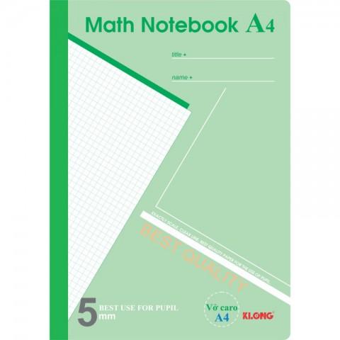 Sổ Caro A4 Math Notebook - 200 trang Klong MS298