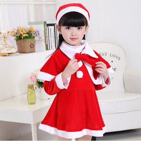 Bộ trang phục noel vải nỉ kèm áo khoác bé gái (15-20kg)