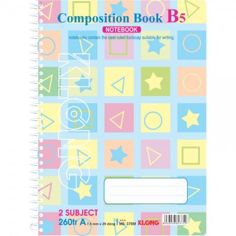 Sổ lò xo đơn 260 trang B5 Compostion Book KLong - MS375