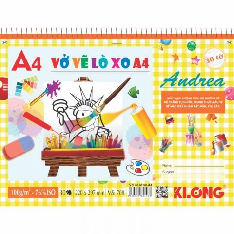 Vở vẽ lò xo xé A4 30 tờ KLong - MS708