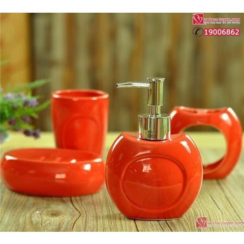 Bộ đồ dùng nhà tắm màu đỏ