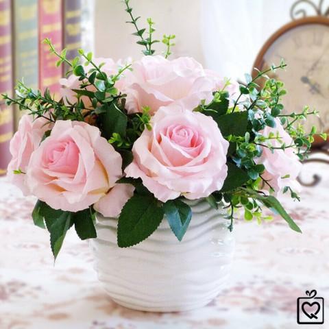 Lọ hoa dáng tròn sứ trắng vân sóng nước