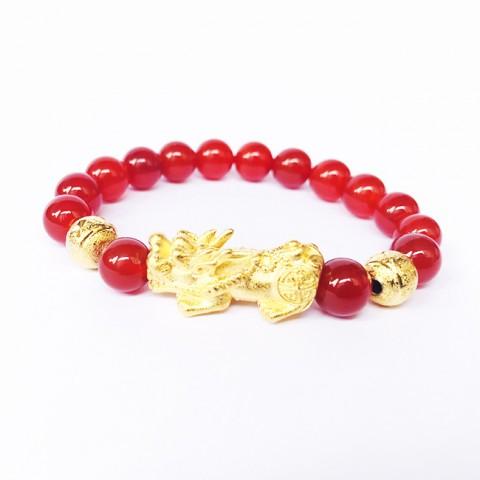 Vòng tay phong thủy tỳ hưu vàng đá mã não đỏ-8LY
