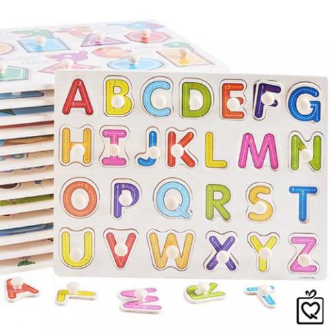 Bảng chữ cái bằng gỗ có núm cầm cho bé