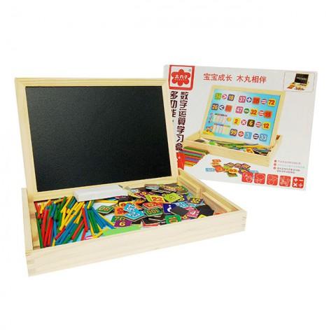 Hộp bảng học toán bằng gỗ có que tính cho bé