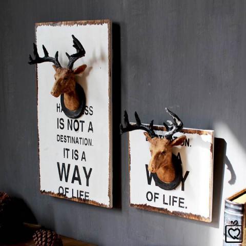 Bảng gỗ đầu hươu treo tường trang trí
