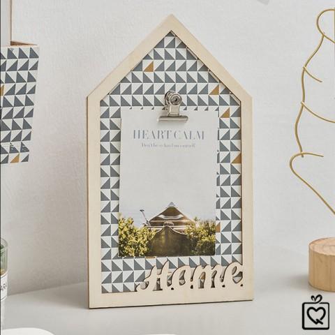 Bảng gỗ kẹp ảnh - thông điệp ngôi nhà Home để bàn