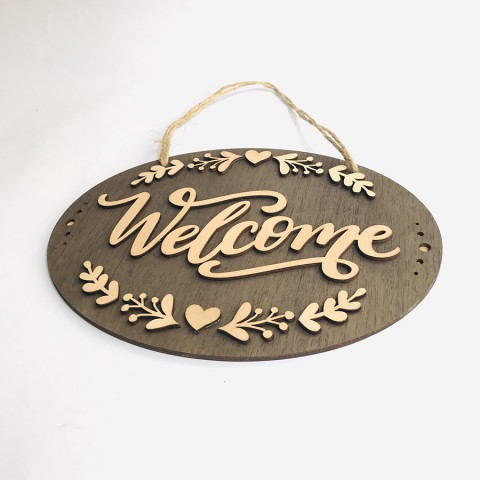Biển treo cửa gỗ Welcome