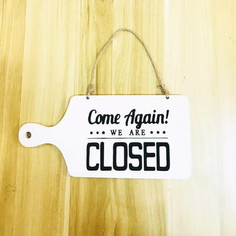 Biển treo cửa gỗ 2 mặt trắng Open-Closed