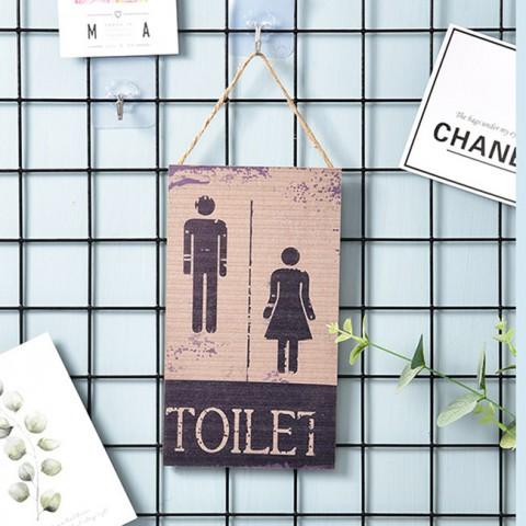 Biển treo cửa gỗ Toilet phong cách Retro