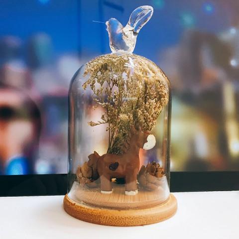 Bình hoa khô thủy tinh - Ngựa thông