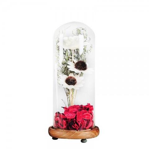 Bình hoa khô thủy tinh - Hoa hướng dương