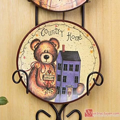 Bộ 3 tranh đĩa sứ hình gấu
