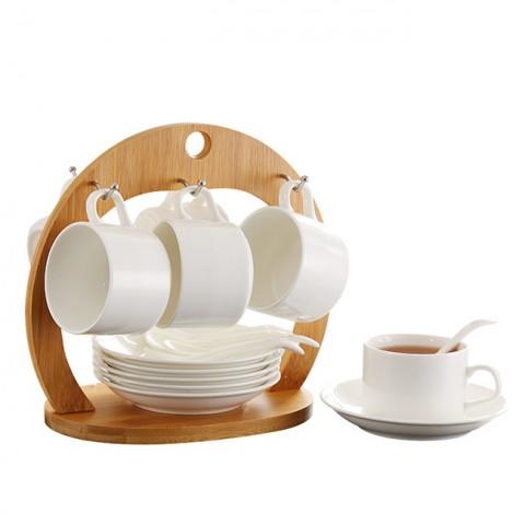Bộ 6 cốc đĩa giá gỗ treo vòng cung