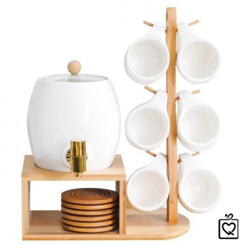 Bộ bình rót nước kèm 6 cốc sứ giá gỗ