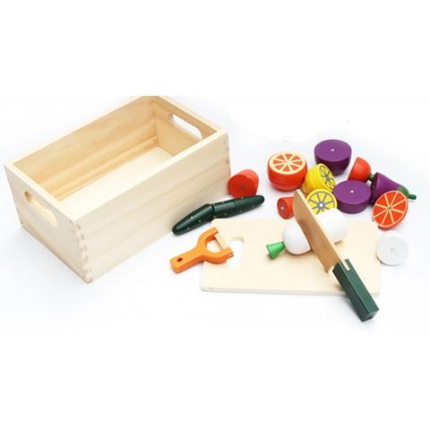 Đồ chơi gỗ cắt rau củ - hộp gỗ