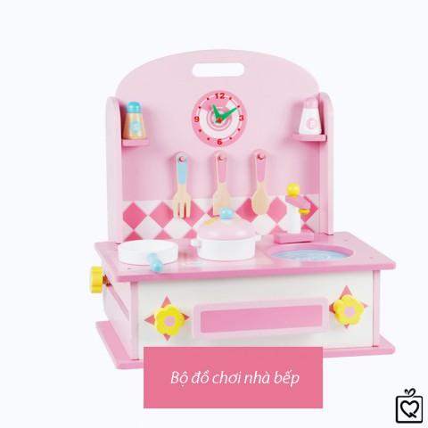 Bộ đồ chơi gỗ 2 trong 1 đồ dùng nhà bếp và bàn trang điểm cho bé