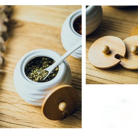 Bộ đựng gia vị khay gỗ 4 hũ tròn