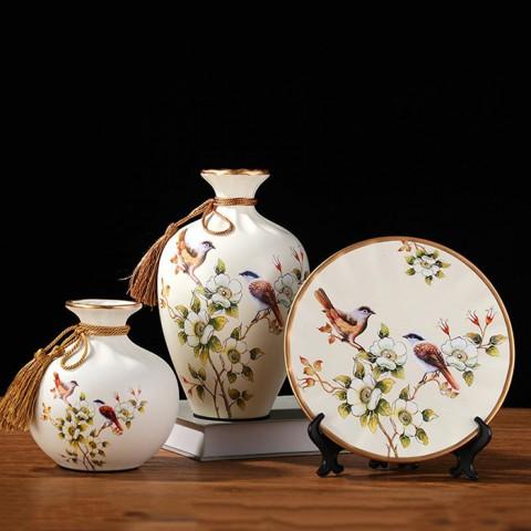 Bộ lục bình tranh đĩa đôi chim sẻ trên cành ban trắng 25cm