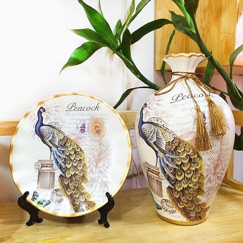 Bộ lục bình tranh đĩa chim Khổng Tước 35cm
