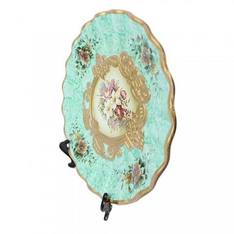 Bộ lục bình tranh đĩa hoàng gia xanh ngọc