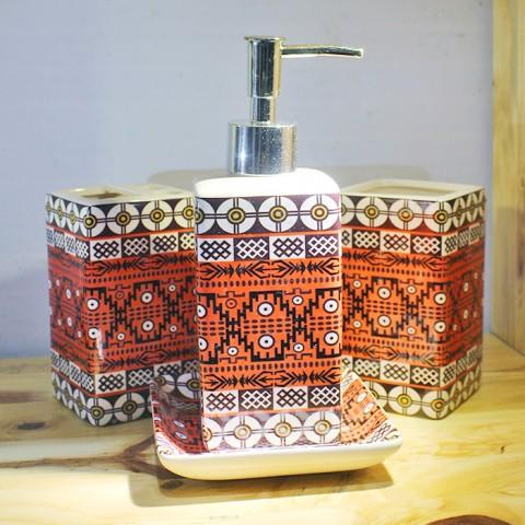 Bộ đồ dùng nhà tắm họa tiết thổ cẩm