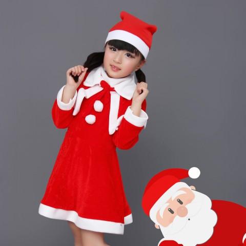 Bộ trang phục noel vải nỉ kèm áo khoác bé gái (25-35kg)