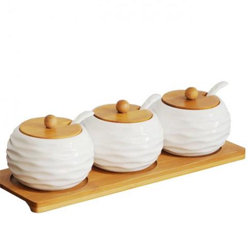 Bộ đựng gia vị khay gỗ 3 hũ tròn