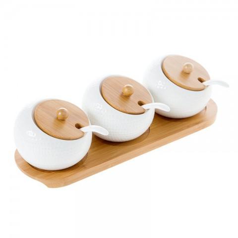 Bộ đựng gia vị khay gỗ 3 hũ tròn nghiêng