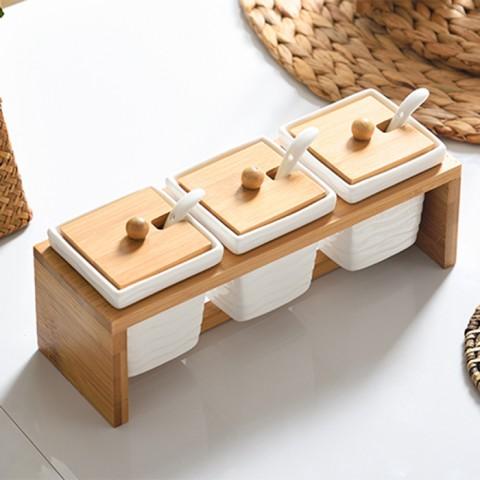 Bộ đựng gia vị khay gỗ 3 hũ vuông