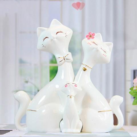 Bộ mèo sứ gia đình hạnh phúc
