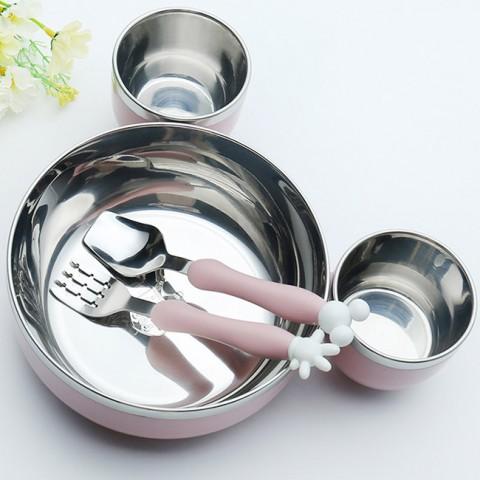 Bộ bát nĩa muỗng bằng inox 3 ngăn chuột Mickey