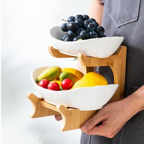 Bộ đĩa sứ giá gỗ đựng bánh mứt hoa quả - Trắng