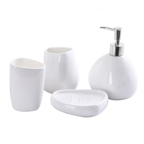 Bộ đồ dùng nhà tắm gốm sứ trắng 4 món tam giác