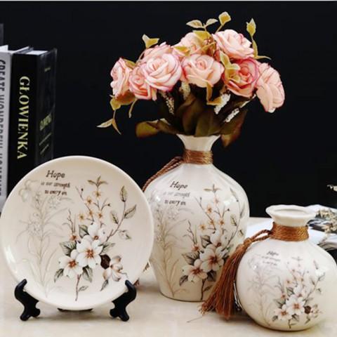 Bộ lục bình tranh đĩa hoa anh đào 17cm