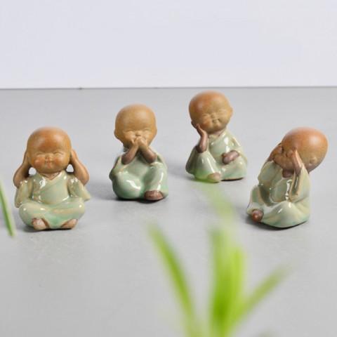Bộ tượng tứ không gốm sứ mini