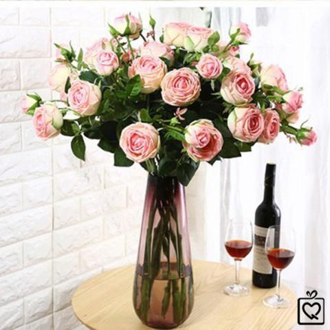 Cành hoa hồng lụa 3 bông