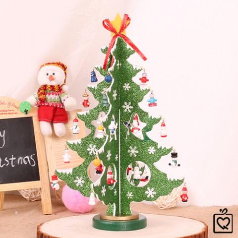 Cây thông Noel bằng gỗ ánh kim
