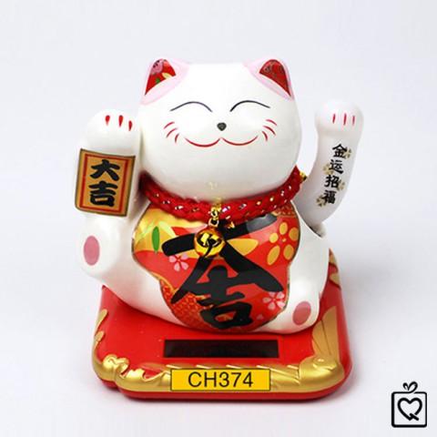"""Mèo vẫy tay năng lượng mặt trời bằng sứ chữ """"Đại Cát"""" - CH374 - 10cm"""