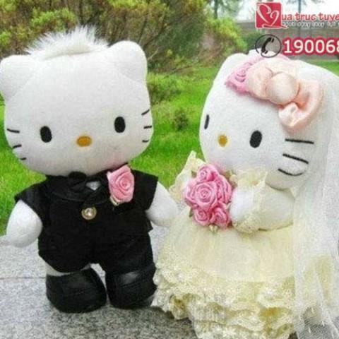 Gấu bông đôi Hello Kitty cô dâu chú rể-20cm