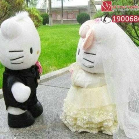 Gấu bông đôi Hello Kitty cô dâu chú rể-30cm
