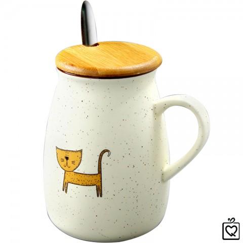 Cốc sứ trắng hình mèo nắp gỗ