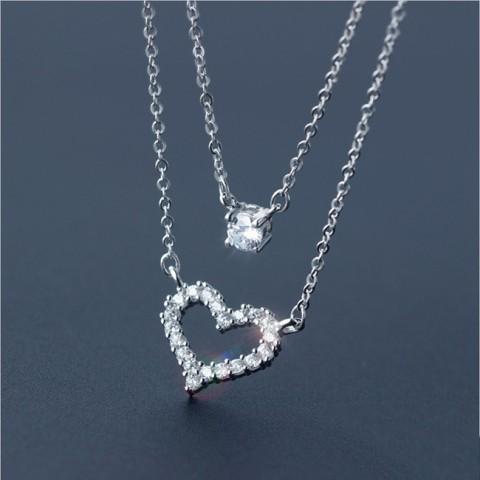 Dây chuyền bạc 2 tầng trái tim đính đá