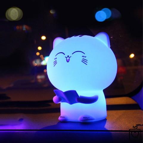 Đèn ngủ mèo con dễ thương - Ghi âm giọng nói - pin sạc