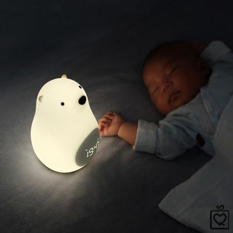 Đèn ngủ để bàn kiêm đồng hồ báo thức chú gấu-pin sạc