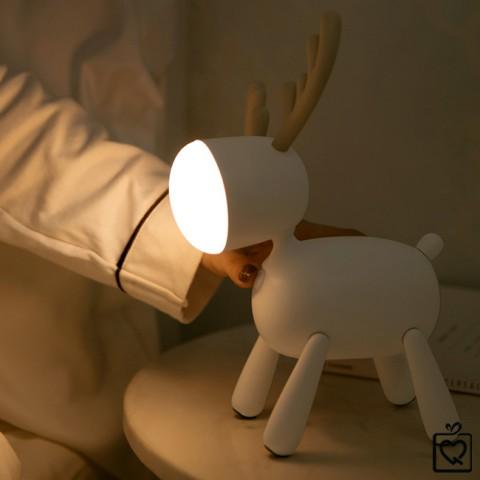 Đèn ngủ để bàn dễ thương - tuần lộc - Pin sạc