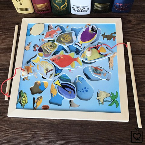 Đồ chơi gỗ 2 trong 1 ghép hình câu cá