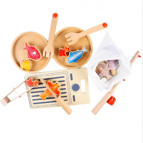 Đồ chơi gỗ 2 trong 1 - câu cá và chế biến món ăn