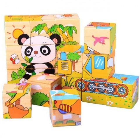 Đồ chơi gỗ ghép hình 9 khối 6 mặt hoạt hình