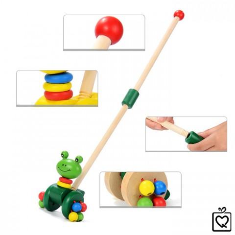 Đồ chơi gỗ cho bé rong chơi cùng ếch con-thanh đẩy ếch